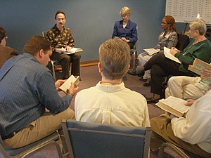 Adult Christian Education class discussing the weeks reading from the Bible